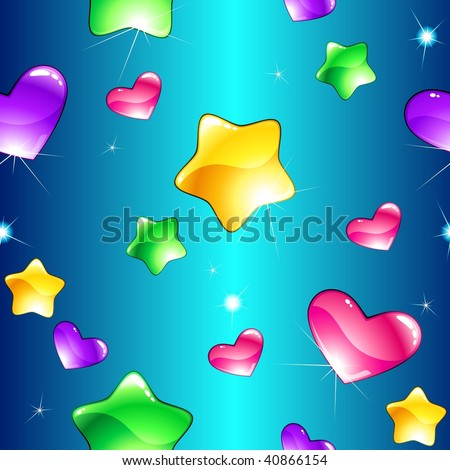 Cheerful seamless pattern with shiny hearts and stars (vector); a JPG version is also available - stock vector