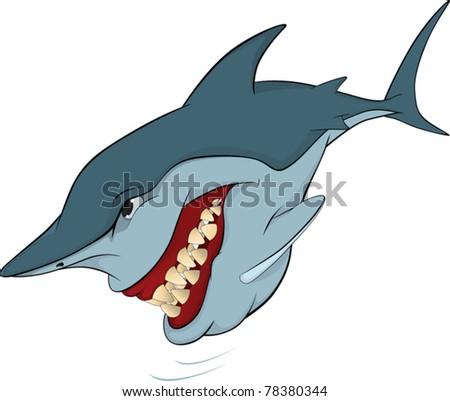 Cheerful shark. Cartoon - stock vector