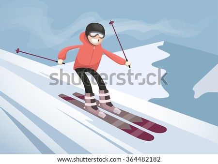 cheerful skier descends from the mountain - stock vector