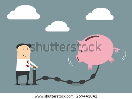 Cheerful smiling cartoon businessman pumping money to a big pink piggy bank suitable for savings or investment business concept design, flat style - stock vector