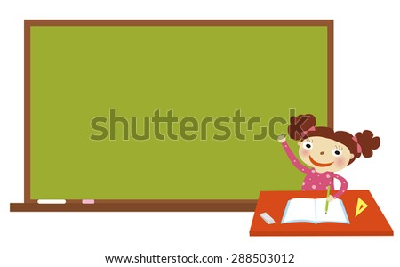 Cheerful smiling child at the blackboard. School concept - stock vector