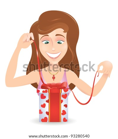Cheerful smiling young woman unwraps a gift - stock vector