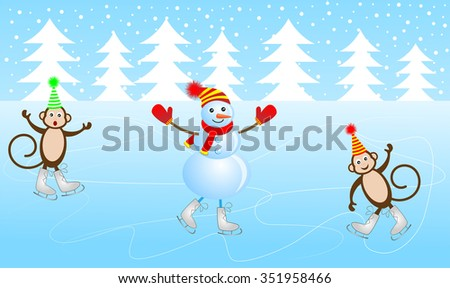 Cheerful snowman and two monkeys skate on the ice, vector illustration - stock vector