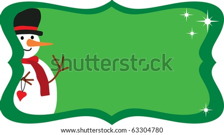Cheerful snowman in bowler hat on snow flakes green background- greeting card template. vector illustration -2 - stock vector