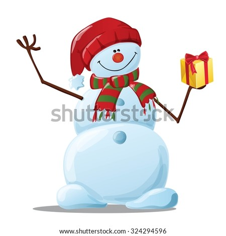 cheerful snowman in hat and scarf gift - stock vector