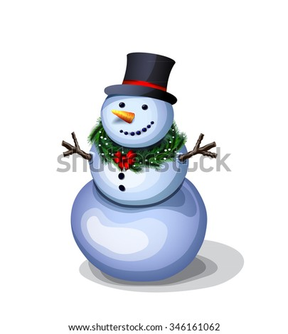 cheerful snowman. pleasant winter decoration  - stock vector
