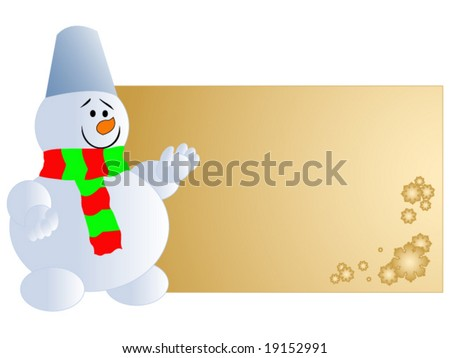 cheerful snowman with blank card vector illustration