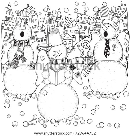 Cheerful Snowmen Sing Songs Winter Snow Stock Vector 729644752 ...