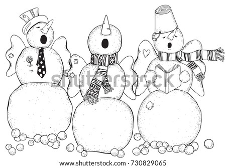 Cheerful Snowmen Sing Songs Winter Snow Stock Photo (Photo, Vector ...