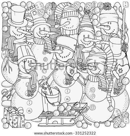 Cheerful snowmen. Winter, snow, sled, snow, trees, hats, carrot, buttons, threads. Merry Christmas, Happy New Year. Pattern for coloring book. Black and white.  Made by trace from sketch.  - stock vector