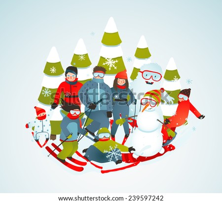 Cheerful Sporty Group of Skiers Snowboarders and Winter Trees Cartoon. Snowboarding and skiing people winter portrait vector. - stock vector