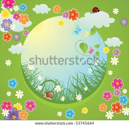 Cheerful summer frame - stock vector