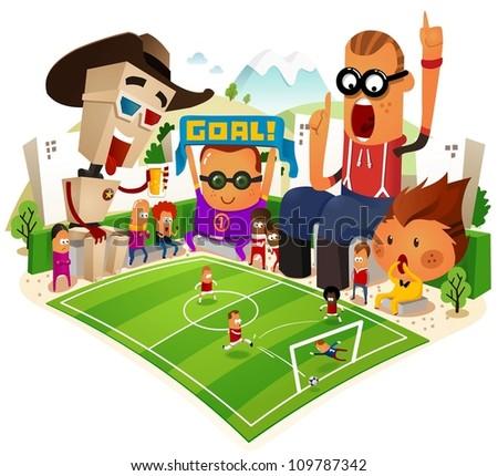 Cheerful Supporter of soccer. vector illustration - stock vector