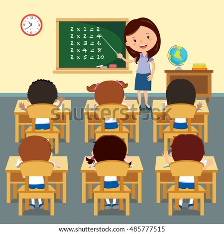 cheerful teacher teaching classroom vector illustration