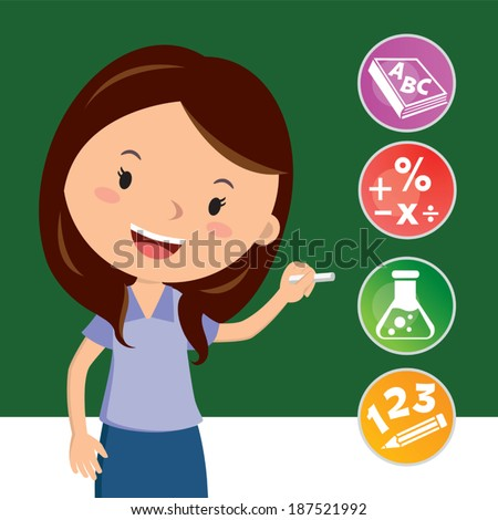 Cheerful teacher with education icons. Teaching. - stock vector