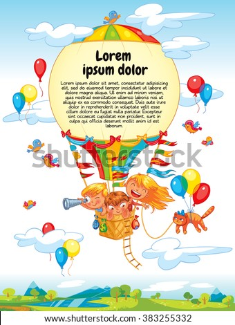 Cheerful travel to a hot air balloon. Colorful template for advertising brochure. Ready for your message. Lorem ipsum. Funny cartoon character. Vector illustration - stock vector
