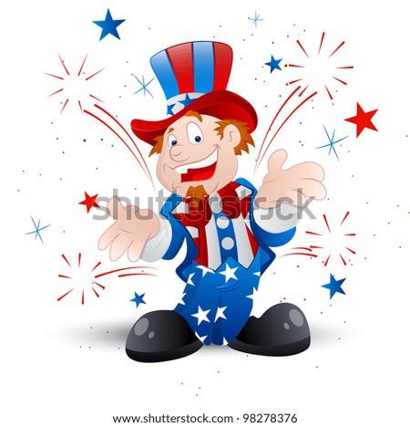 Cheerful Uncle Sam Illustration - stock vector