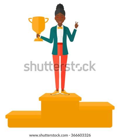 Cheerful woman on pedestal. - stock vector