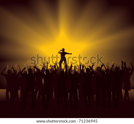 Cheering Crowd at pop star concert - stock vector