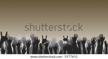 Cheering hand vectors perfect for a background.  Add text above. - stock vector
