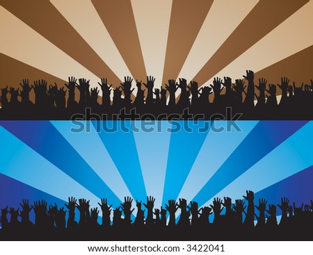 Cheering hands silhouette vector with abstract background. - stock vector