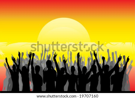 Cheering the Sunrise - stock vector