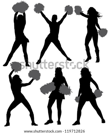 Cheerleader Silhouette on white background