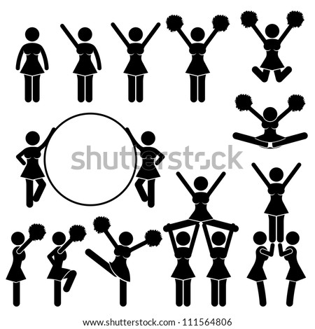 Cheerleader Supporter Team of School College University Icon Symbol Sign Pictogram - stock vector
