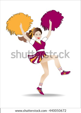 Cheerleader yelling a cheer while jumping and shaking pompoms