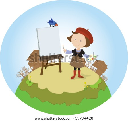 Cheery girl with her small palette standing in front of the easel and thinking about her new paint. From the scenes for a four seasons and seasonal activities. - stock vector