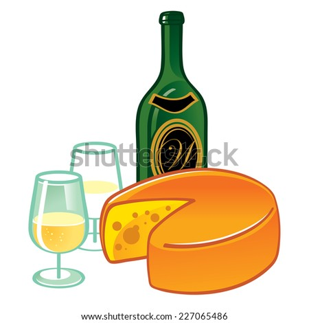Cheese and Wine - food and drink illustration - stock vector