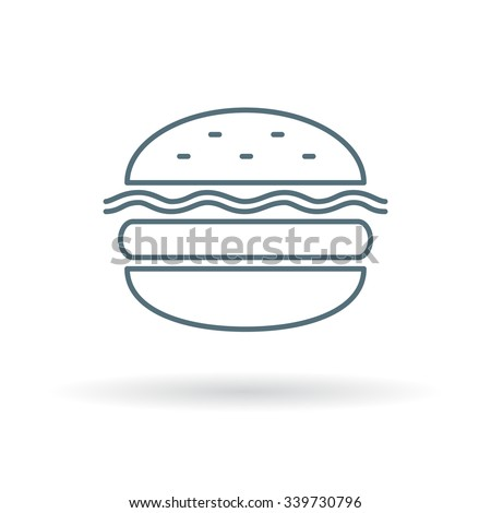 Cheese burger icon. Cheese burger sign. Cheese burger symbol. Thin line icon on white background. Vector illustration. - stock vector