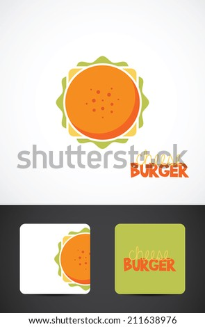 Cheese burger illustration. Stylized Icon & business cards. Vector EPS10. - stock vector