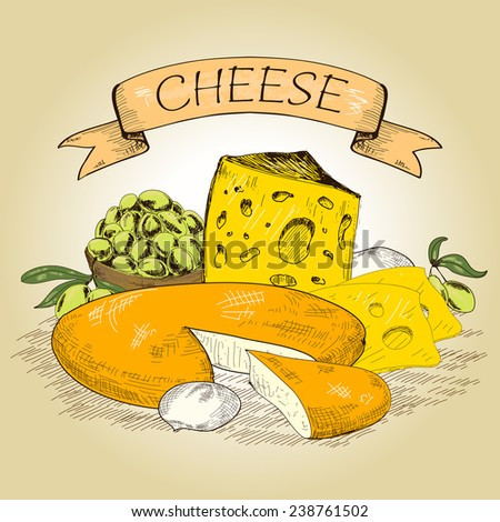 Cheese. Composition with different cheeses. Hand drawn graphic