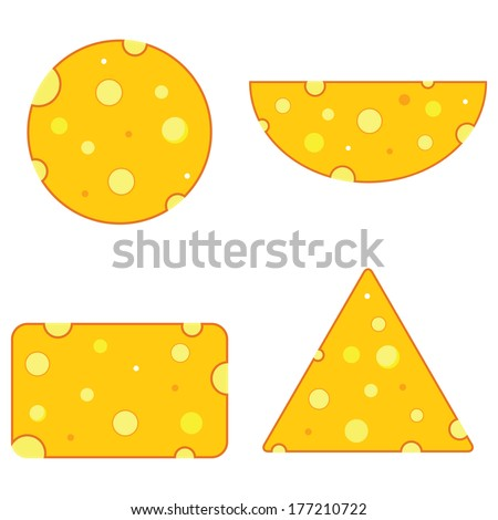 Cheese different shape on the white background - stock vector