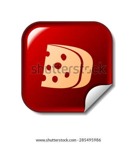 Cheese icon on red sticker - stock vector