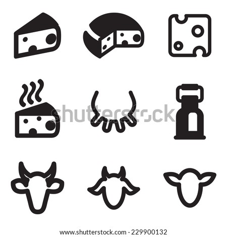 Cheese Icons - stock vector