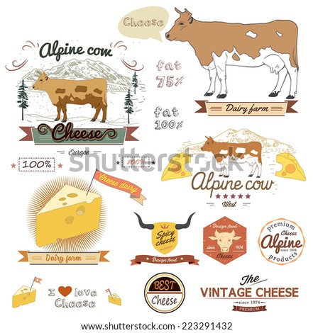 cheese labels set. Cow vector illustration. - stock vector