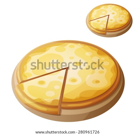 Cheese pizza. Detailed vector icon isolated on white background. Series of food and drink and ingredients for cooking. - stock vector