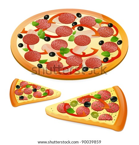 Cheese pizza / Pepperoni pizza. Isolated  round and slice pizza. Vector illustration on white background. EPS 10 - stock vector