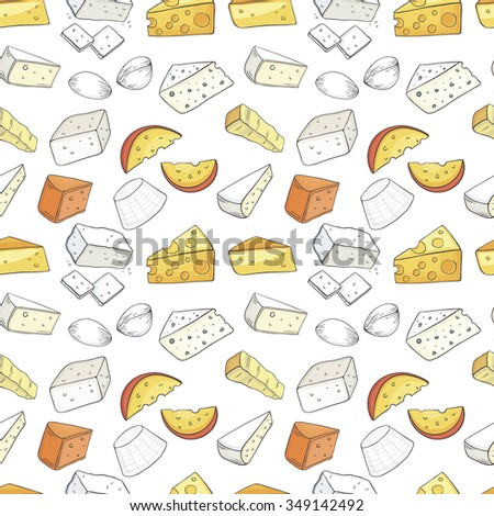 Cheese seamless pattern. Can be used in restaurant menu, cooking books and labels.