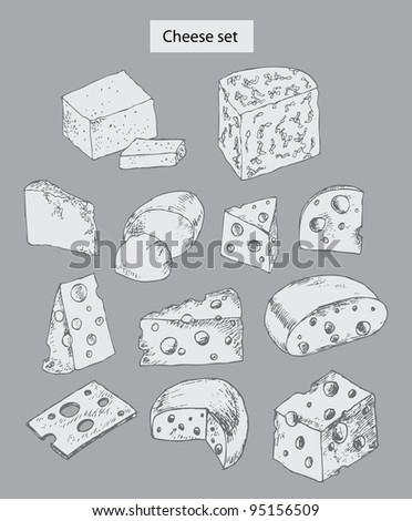 cheese set hand drawn illustrations