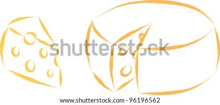 cheese sketch - stock vector