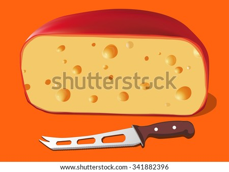 Cheese with knife for cheese, vector illustration - stock vector