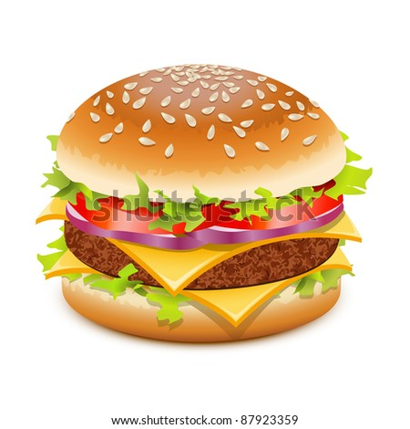 Cheeseburger, hamburger with cheese over white - stock vector
