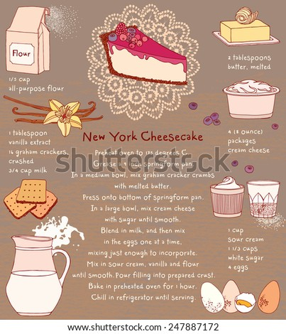Cheesecake. Recipe card. Vector illustration. Food ingredients.