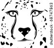 Cheetah face tribal design - stock photo