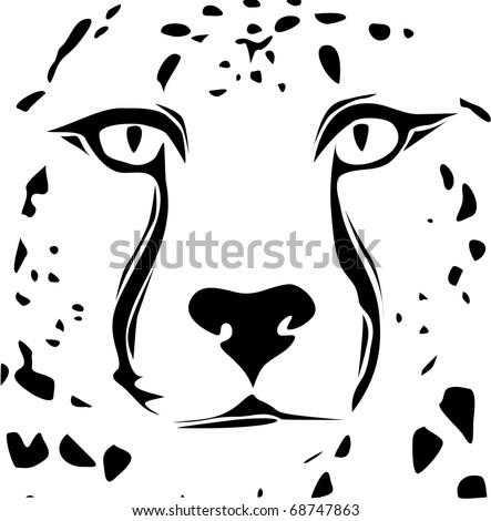 Cheetah face tribal design - stock vector