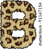 cheetah fur font alphabet b - stock vector