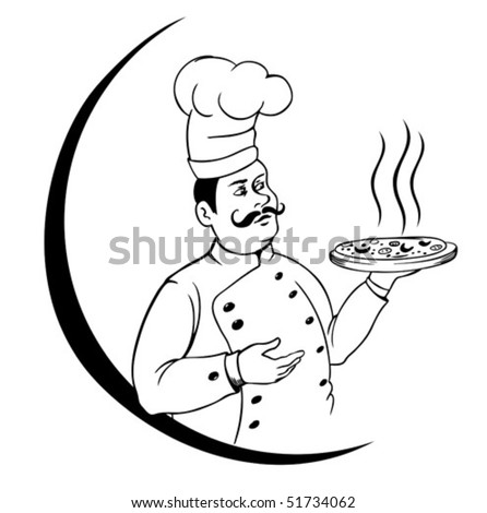 chef and pizza in a white background